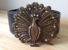 Vintage brass Peacock buckle brown leather belt XL by Bluetwinklecat on Etsy