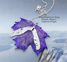 "Real Sugar maple leaf with maple seed ""Purple Majest"" original one-of-a-kind necklace by Natures leaves on Etsy"