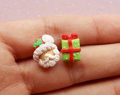 Pendientes Santa Navidad stud pendientes de ideas de regalos de Navidad joyería Santa secreto