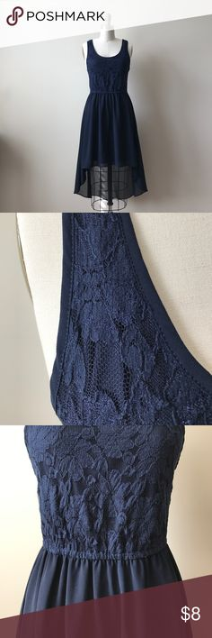 Forever 21 navy + lace, high-low dress Re-Posh: Beautiful navy, high-low dress with lace bodice and sheer overlay skirt. Perfect for a wedding or pair it with boots for a casual Fall gathering. Size Medium. Forever 21 Dresses High Low