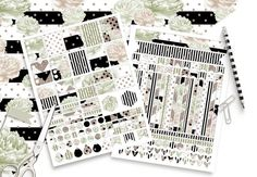 MINT WATERCOLOR STICKER Sheets Black White Peony by ClipArtBrat