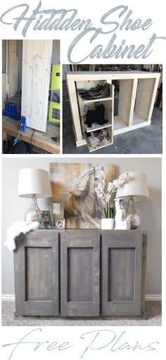 Awesome Wood Shoe Cabinet with Doors