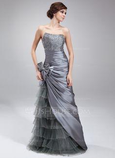 Sheath/Column Sweetheart Floor-Length Taffeta Tulle Prom Dress With Beading Sequins Bow(s) Cascading Ruffles (018004873)