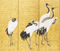 Cranes, An'ei period First of a pair of 6 panel screens by Maruyama Ōkyo from Los Angeles County Museum of Art Japanese Crane, Art Asiatique, Japanese Folklore, Plant Painting, Yellow Art, Japanese Painting, Panel Art, Japan Art, Japanese Artists