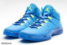 "Men's Nike Jordan Super Fly 2 ""University Blue - Royal Blue/Electric Green"" Retro Basketball Sneakers"