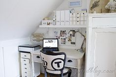 This room is craft room, home office and sewing station in one with lots of creative storage ideas. Small attic home office Office Drawer Organization, Diy Drawer Organizer, Space Crafts, Home Crafts, Craft Space, White Craft Room, Decoration St Valentin, Creative Storage, Storage Ideas