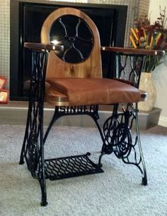 Old Treadle Sewing Machine Converted Into Singer Chair Recycled Furniture Recycling Metal