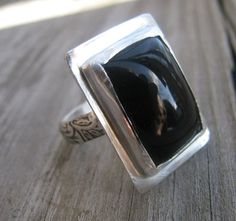 Ornate Sterling and Fine Silver Black Onyx by ElizabethsExclusives