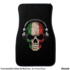 Customizable Italian Dj Skull with Headphones Car Floor Mat - Car Floor Mats and Automobile Accessories