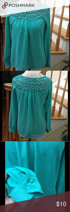 """✨Patrizia Luca Long Sleeve Blouse ✨ ✨Loose Fit blouse✨Long Sleeve w/ button cuff* one missing button on right cuff* please see pic✨Approx 18"""" armpit to armpit measured laid flat✨Aqua/Green color* color may vary according to your screen Patrizia Luca Tops Blouses"""