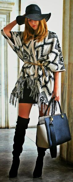 White And Black Aztec Print Poncho With Over The Knee Boots !