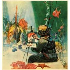 1922 Print Howard Brown Zarh Pritchard Underwater Painter Fish Coral