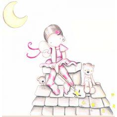Decoración infantil Il Mondo di Alex, Vinilos - Stickers efecto pintado a mano, HADA TEJADO... personalizado con nombre y a medida.