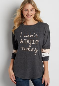 On my wish list #wishpinwinsweepstakes #discovermaurices. football pullover with I can't adult today graphic