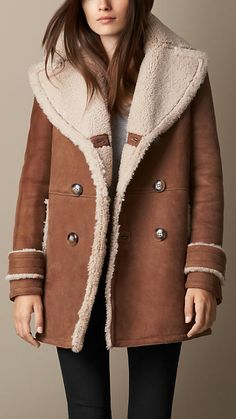 Ochre brown A-Line Shearling Coat - Image 1