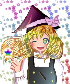 Marisa Kirisame from Touhou !  This was just a quick drawing for practice, but I really like how it turned out~ ! It feels great to take a break from complex conceptual artworks from time to time and work on more simple drawings >w<  Love drawing cute and colorful things !  Hope you'll like it ♥  #fanart #touhou #marisa_kirisame #digital_art