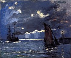A Seascape, Shipping by Moonlight, Claude Monet (by BoFransson)