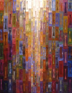 """It's About Time, Janet Stedman - x Best of Show, Association of Pacific Northwest Quilters Collection of Sally Reeve, Bellevue, WA Amazing how this quilt reflects """"light"""" Fiber Art Quilts, Quilt Modernen, String Quilts, Landscape Quilts, Contemporary Quilts, Scrappy Quilts, Fabric Art, Quilting Designs, Textile Art"""