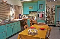 Julia Child's Kitchen at the Smithsonian. 70s turquoise? I want to go.