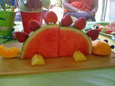 Make individual fruit dinos?   ROCmomma: Birthday Party Idea: Dinosaur Party
