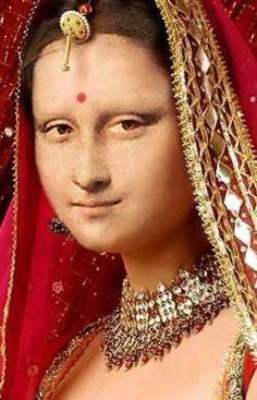 Mona Indian Style by Patrizia (Germany) Lisa Gherardini, Classical Art Memes, La Madone, Mona Lisa Parody, Mona Lisa Smile, Famous Artwork, Portrait, Indian Fashion, Osho