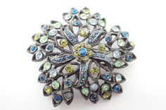 Signed Selini brooch in shades of blue and green rhinestones AB045 by MeyankeeGliterz on Etsy
