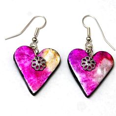 Distressed holographic heart polymer clay earrings in pink