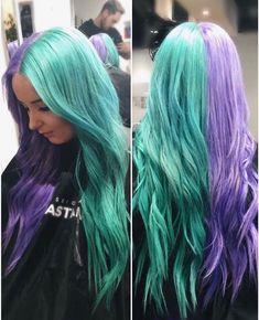 Hair half colored hair, purple hair e half, half hair. Grey Hair Dye, Teal Hair, Hair Color Purple, Bright Hair, Hair Dye Colors, Dye My Hair, Cool Hair Color, Grey Dye, Purple And Green Hair