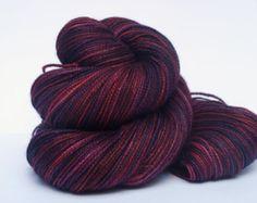 Hand Dyed Fingering, Sock Yarn, 80/20 Superwash Merino/Silk, Wine Berry