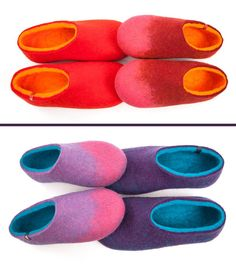 wooppers_for_him&her Handmade woolen felted slippers made to orders for a special gift to a favorite couple. Here some popular color combinations. Felted Wool Slippers, Felt Shoes, Little Pets, Special Gifts, Wool Felt, Color Combinations, Just For You, Felting, Clogs