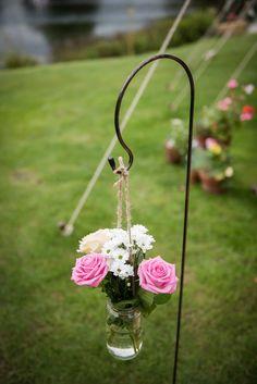 Jar Flowers Outdoor Lakeside DIY Wedding http://julietmckeephotography.co.uk/