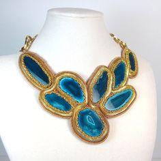statement jewelry | Statement Necklace blue green jewelry geode gold statement collar ...