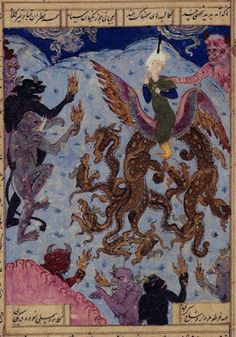 """""""Mahan in the Wilderness of Ghouls. He rides a winged seven-headed dragon, and is surrounded by demons carrying fire in their hands. Another demon on the horizon grasps him by the shoulder. A miniature painting from a sixteenth century manuscript of the Khamsa ('Five Poems') of Nizami."""" - Iran 1505"""