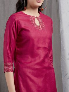 Magenta Hand Embroidered Cotton Silk Kurta with Red Hand Block Printed Skirt and Rust Chanderi Dupatta- Set of 3 Salwar Designs, Plain Kurti Designs, Silk Kurti Designs, Churidar Neck Designs, Kurta Neck Design, Kurta Designs Women, Kurti Sleeves Design, Kurti Designs Party Wear, Red Kurti Design