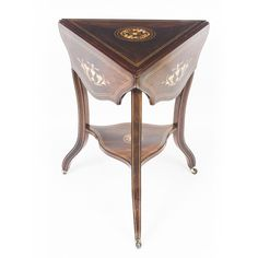 A lovely antique Edwardian inlaid triangular drop-flap occasional table, circa 1900.