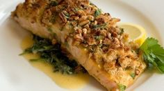 Baked salmon fillets with a crunchy pecan coating make an excellent main course.