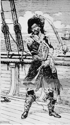 Drawing of Scottish-born American privateer and pirate William 'Captain' Kidd standing on the deck of a ship, brandishing a sword, circa 1690.