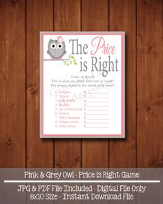 Pink & Grey Owl Baby Shower Price is Right Printable - INSTANT DOWNLOAD - 8 x 10  Digital File - Baby Shower Game
