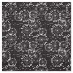 Riding my Bicycle - black & white repeat pattern Fabric - pattern sample design template diy cyo customize