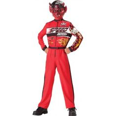 Speed Demon Kids Halloween Costume Price: $42.00  Kids Halloween costume includes the jumpsuit with racing graphics and vinyl mask (makeup not included).  #cosplay #costumes #halloween