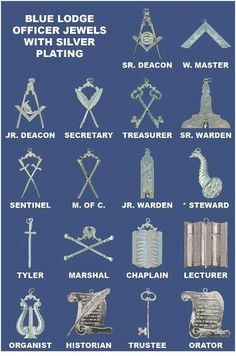 The standard insignia of the officers/positions within a masonic lodge. Masonic Store, Masonic Art, Masonic Lodge, Masonic Symbols, Illuminati, Prince Hall Mason, Masonic Order, Eastern Star, The Orator