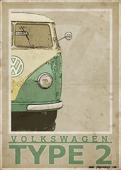 Volkswagen Type 2 Split Screen Van / Bus Vintage Style Poster Produced to look like an old poster. Part of a series of Vintage Porsche & Volkswagen images. Size x - x Size x - x IMPORTANT: All sizes are Vw Vintage, Images Vintage, Vintage Porsche, Style Vintage, Vintage Posters, Volkswagen Bus, Vw T1, Vw Camper, Honda Shadow