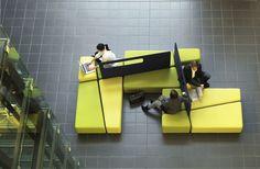 Inspiring Yellow Sofas To Perfect Living Room Color Schemes 54 - DecOMG Commercial Design, Commercial Interiors, Sofa Design, Furniture Design, Design Thinking, Yellow Sofa, Lobby Furniture, Space Dividers, Interior Architecture