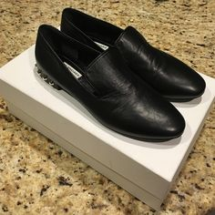 NWT Balenciaga Studded Leather Loafer My loss is your gain! They were too small :( currently full price in stores for $750 at Neimans! Classic Balenciaga loafers with studs. Size 8. Balenciaga Shoes Flats & Loafers