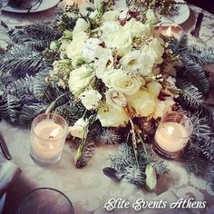 Christmas Winter Wedding Centerpiece, Athens, Greece by Elite Events Athens #winterwedding #snowywedding #christmaswedding #comingsoon by #eliteeventsathens #flowers #centerpiece #sample #linens #fabrics #artdelatable #candles #decoration #love and it's gonna be an #amazing #extraordinary #christmas #winter #wedding for our #lovely ❤ #mrandmrs #soon #tobe ❤ #weddingplanning and #weloveourjob #greekwedding #athenswedding #weddingingreece www.eliteeventsathens.gr www.eliteeventssantorini.com