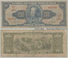 """dinheiro: nota de Cr$ 200,00 (duzentos cruzeiros) Circulou dos anos 40 aos anos 70 (início). No verso da nota, o famoso quadro de Pedro Américo """"O Grito do Ipiranga""""."""