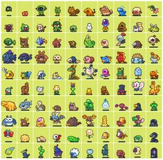 "2 x 100 Pixel Art Pieces: ""Monsters + Characters"" Pixel Artist: neorice Source: deviantart.com (1) (2)"