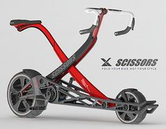 Scissors.It's a new style folding bike that you can go anywhere and easily transport it, with style and without folding systems difficult.: