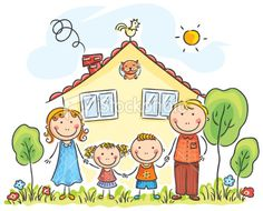 Buy Family with Two Children Near Their House by katya_dav on GraphicRiver. Family with two children near their house, cartoon graphics, vector illustration Art Drawings For Kids, Drawing For Kids, Cartoon Drawings, Easy Drawings, Art For Kids, Cartoon Familie, Family Clipart, Family Drawing, Karten Diy