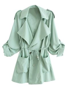 Light Green,Lapel,Waisted,Double Breasted,Trench,Coat